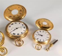 A 9ct gold cased side wind half hunter pocket watch case by Dennison Watch Case Co., Birmingham 1923,