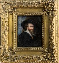 English School (19th century) A portrait miniature of a bearded gentleman, half-length, dressed in a black cloak,