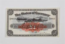 States of Guernsey one pound Banknote States of Guernsey, £1, 1 July 1939, serial number R/S 0015,