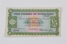 States of Guernsey five pound Banknote States of Guernsey, £5, 1 December 1956, serial number 1J 2545,