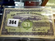 Three States of Guernsey one pound Banknotes States of Guernsey, £1, 1 July 1955, serial number 12/V 1420; 1 June 1963,