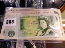 A collection of Bank of England Banknotes comprising a Ten Shilling note, serial number E02Y 450626, reddish brown,