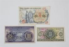 Three States of Guernsey Banknotes comprising of a ten pound note, serial number A 461802, Sir Isaac Brock,