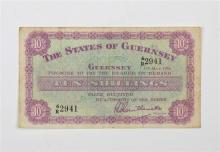 A States of Guernsey Banknote denomination Ten Shillings, 1 May 1956, serial number 6R 2941, purple & green,