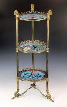 A French gilt metal and Japanese cloisonné three tier etagere c.1900,