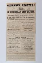 An extremely rare original Victorian Guernsey Regatta poster dated Wednesday, July, 1864,