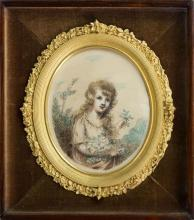 A miniature pen and ink and watercolour portrait of a young girl 19th century, half length, holding a bundle of picked flowers,
