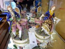 A pair of Samson porcelain figures of a lady and seated gallant in conversation c.1900,