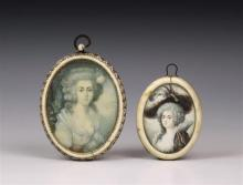 Two watercolour on ivory portrait miniatures second half 19th century in the 18th century style, both of elegant ladies, oval,