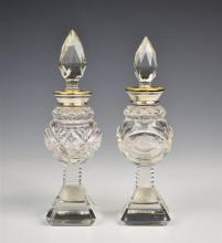 A near pair of Edwardian cut glass,