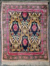 An unusual silk rug, probably Feraghan, West Iran,