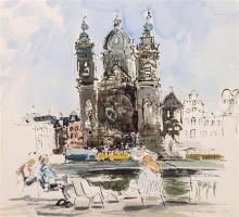 Harold Ian Ribbons (British, 1924-2002) 'From Smits' Coffee House', Amsterdamwatercolour, pen and ink,