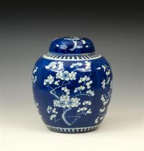 A large Chinese porcelain blue and white lidded ginger jar probably 19th century,