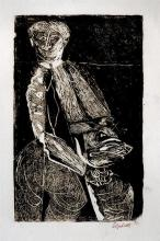 Robert Colquhoun (Scottish, 1914-1962) Man with pig monotype on laid paper, signed lower right and dated '52 in ink,