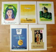 Five miniature 1950s Pan-Am travel posters after originals by Edward McKnight Kauffer dated 1949-53,