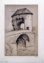 Hester Frood (British, 1892-1971) 'Monmouth Bridge'etching, signed and inscribed in pencil,