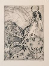 Orovida Camille Pissarro (French, 1893-1968) 'Peccarys & Tiger Pranks'etching, signed, numbered 'Final State 4/30',