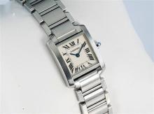 A Cartier Tank Francaise stainless steel ladies wristwatch ref. 2384, serial no. 83433OUF, quartz movement,