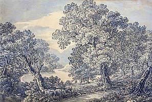 Thomas Sunderland (British, 1744-1828) English wooded lakeland landscape