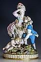 A Meissen porcelain figural group 'The Broken Bridge' 19th century, after the original by M.V. Acier,