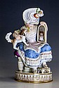 A 19th century Meissen porcelain figure of a lady with underglaze blue crossed swords, incised 'F50' and Pressnumern '43',