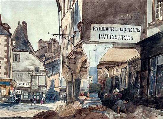 John Evans (British, exh. 1849-1891) Street scene in Dinan, France