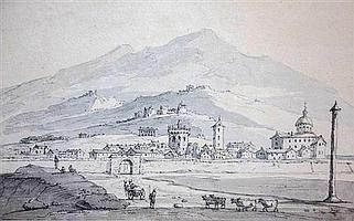 Thomas Sunderland (British 1744-1828) View at Brescia in Northern Italywatercolour en grisaille and pencil6½ x 10½in. (16.5 x 16.7cm...