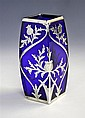An early 20th century silver mounted cobalt blue glass vase the bowed,