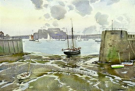 Watercolour - A. R. Bradbury - St Peter Port Harbour