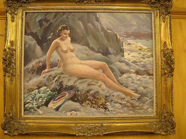 Arthur Royce Bradbury (British 1892-1977) A nude bather on a Sark beach