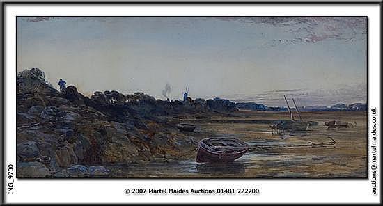 P. J. Naftel - Watercolour - Low tide at Bordeaux, Guernsey