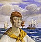 A watercolour - depicting a Seafarer , by Gustav Alaux., Gustave Louis Michel Alaux, Click for value