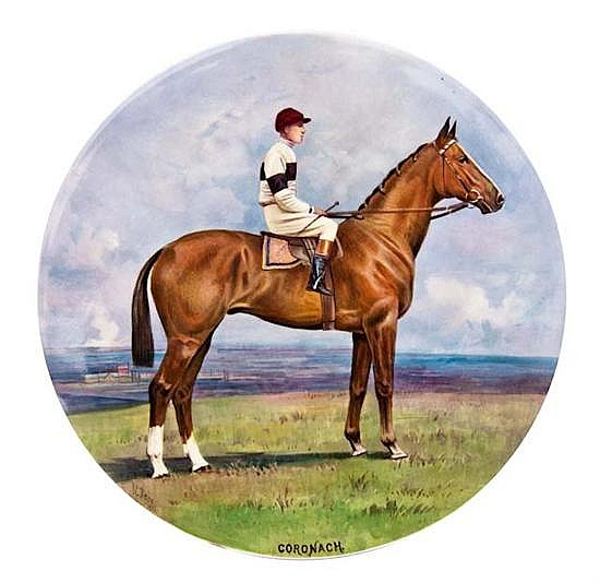 A handpainted Minton plaque by James Edwin Dean a portrait of the racehorse 'Coronach', oil on porcelain,