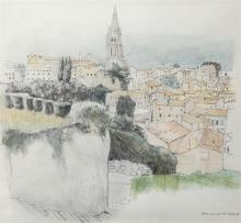 Damon Bell (British, b.1961) ''Saint Emilion, Fr.''pencil and coloured pencil, titled,