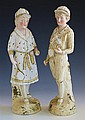 A pair of Continental biscuit porcelain figures of tennis players probably French, early 20th century,