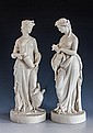 A matched pair of mid 19th century Parian figures of classical maidens one modelled as Leda and the Swan, probably by Goss,