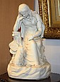 A 19th century Parian figure modelled as a lady seated on a tree stump in thoughtful pose, her chin on her raised hand,