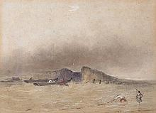 Attributed to Jean Le Capelain (Jersey, 1812-1848) 'Jersey fisherman off the North Coast'watercolour on paper,