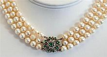 A three strand cultured pearl choker necklace probably 1930s-50s, the three strands of approx. 7mm. pearls with a white gold,