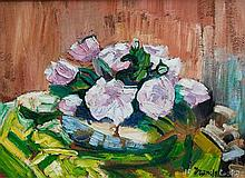 Sir Francis Ferdinand Maurice Cook F.R.S.A. J.S.A. (British, 1907-1978) 'Roses in my Studio'