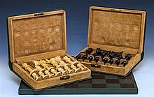 A Jaques of London boxwood and ebony weighted Staunton pattern chess set late 20th century, the kings impressed 'Jaques London' in re