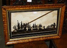 A 19th century glass silhouette marine scene painted in black and gilt verre eglomisé,