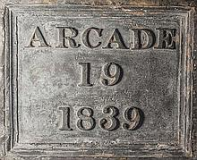 A Guernsey lead water pump of historical interest the rectangular 19th century cast lead plaque inscribed 'Arcade 19 1839',