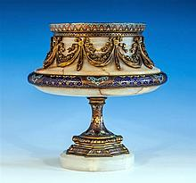 A French champleve enamel, gilt brass and alabaster urn in the Russian taste, late 19th century,
