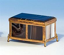 A French agate and gilt metal mounted miniature casket early 20th century,
