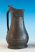 A mid 18th century Channel Islands pewter quart measure or flagon Type 1, maker A. Carter, 'SM',