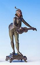 A French cold painted bronze figure of a court musician early 20th century, the boy leaning forwards with his head raised,