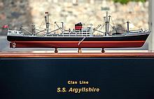 A fine scale display model of the Clan Lines steam cargo vessel S.S. Argyllshire by Classic Ship Models of Kidderminster, 1:178 scale,