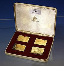A cased set of silver gilt 'Passenger Railway 150th Anniversary' commemorative railway stamps by Hallmark Replicas Limited,