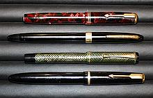 A Sheaffer fountain pen circa 1961, Sheaffer Cadet 23 tip-dip touchdown, black, 14k gold nib; together with a Parker Duofold,